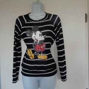 Disney Mickey Mouse Black White Sweater Small